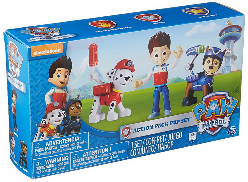 Paw Patrol 6024760 Action Pack Pups 3pk Figure Set Marshall, Ryder, Chase